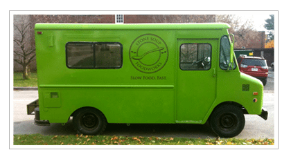 INTRODUCING: Stone Soup Foodworks, a sassy soup biz inside a converted chip truck