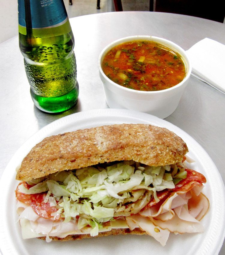 WEEKLY LUNCH PICK: Chicken, spicy salami, and spicy eggplant sandwich with soup at La p'tite épicerie du quartier