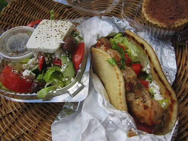WEEKLY LUNCH PICK: Pork souvlaki pita and Café Frappé cheesecake at the Nutty Greek Bake Shop
