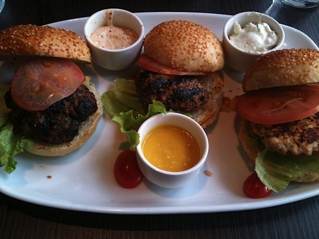 NEW IN TOWN: A Weekly Lunch Pick slider trio of beef, lamb, and salmon courtesy of Original Burger Joint