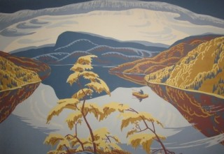 YVONNE MCKAGUE HOUSSER (1898-1986), Evening – Nipigon River / La soirée – Rivière Nipigon, 1943, silkscreen / sérigraphie, Sponsored by / Commandité par The Southam Company and John Northway & Son, Ltd., Printed by / Imprimée par Sampson-Matthews, Ltd., Private Collection / Collection privée