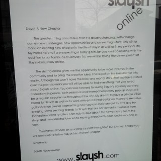 Slaysh owner updates shoppers about her move online.