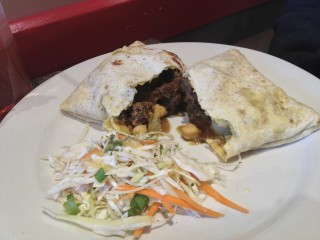 Goat roti at Mugena. Photo by Anne DesBrisay.
