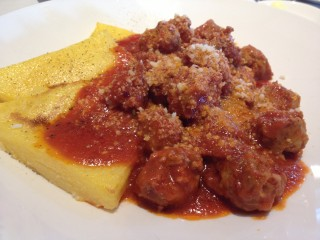 Polenta with sausage. Photo by Anne DesBrisay.