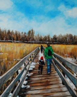 """Shop for works like """"Mer Bleu Bog"""", which is by Claudia Urbach, at Patrick Gordon's holiday sale."""