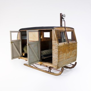 The Regier family's winter vehicle, circa 1950 Built entirely by hand, this vehicle even had a small wood-burning stove for warmth on long trips. Photo by Steven Darby ©Canadian Museum of Civilization