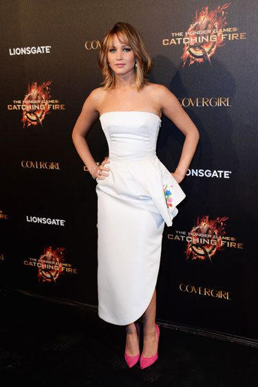 Jennifer Lawrence in a ho-hum strapless Dior gown.
