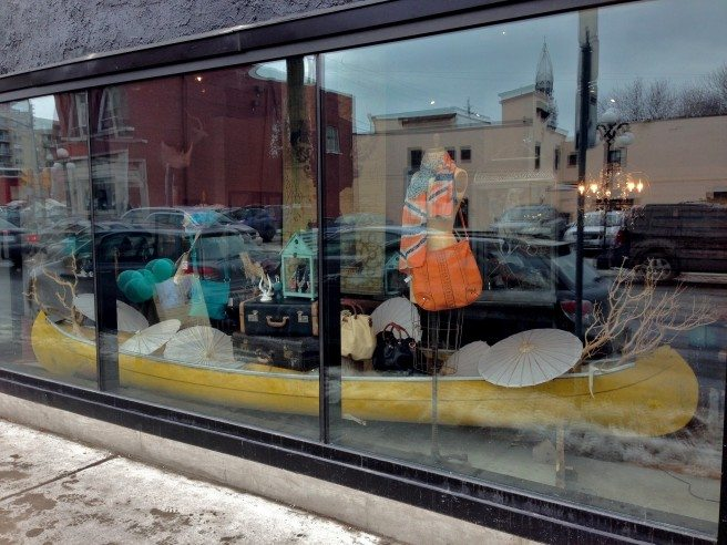 A 16-foot yellow canoe in the front window (also for sale) beckons shoppers.