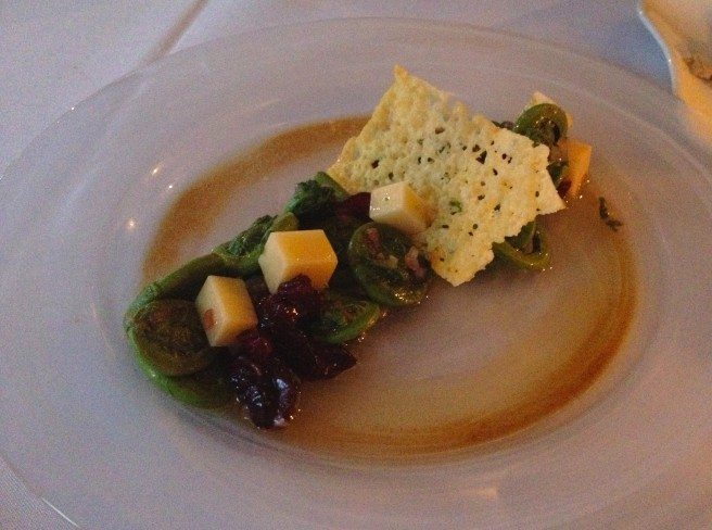 Fiddlehead salad with parmesan crisp. Photo by Anne DesBrisay.