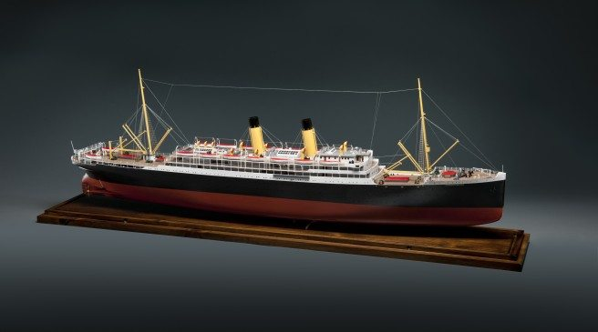 Model of the Empress of Ireland; note the wire stretching between the masts fore and aft which allowed radio operators aboard the ship to communicate with other vessels and wireless stations. ©CMH, photo Frank Wimart.