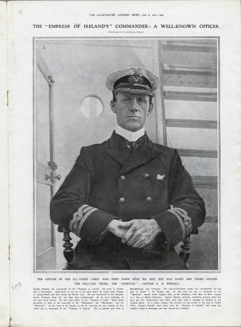 Henry George Kendall  Captain  Fate: Survived  The Commission of Inquiry supported his version of events, blaming the captain of the Storstad for the catastrophe.  © Canadian Museum of History, IMG2013-0168-0139