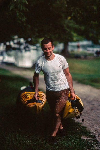 Claude Galipeau, getting set to embark on a three-day kayaking trip with his brother, Paul, and Ben Welland