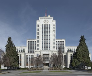 City Hall, West 12th Ave. and Cambie Str., Vancouver, B.C. (2013), photograph by Leslie Hossack, part of Registered, an exhibit at Shenkman Centre until Sept 23