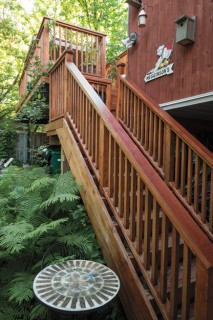 """High above the yard, Tom says the back deck """"makes us feel as if we're in a tree house."""" There is space underneath to park their car. Photo by Justin Van Leeuwen"""