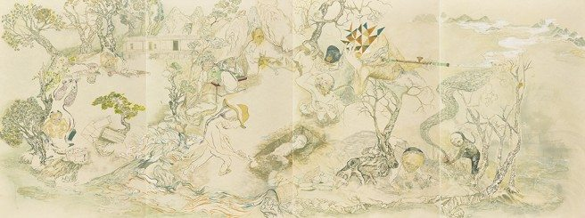 Howie Tsui  The Unfortunates of d'Arcy Island, 2013 Chinese paint pigments and gold calligraphy ink on mulberry paper, mounted on board 4 panels; 91.5 × 61 × 4.2 cm each; 91.5 × 244 × 4.2 cm overall National Gallery of Canada, Ottawa Photo © NGC