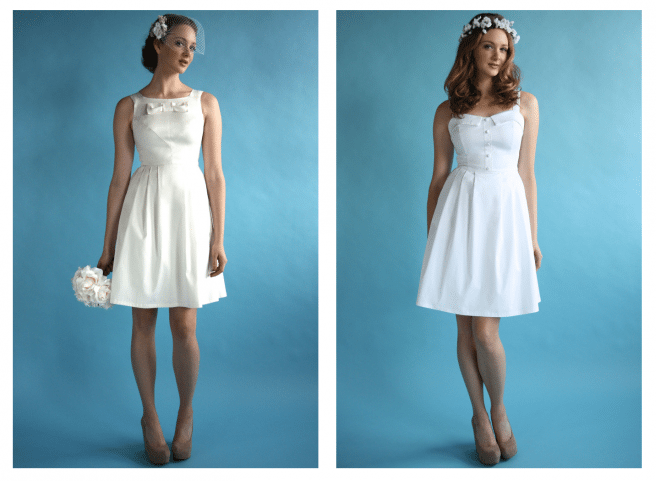 The Birds of North America bridal line features knee-length dresses in simple silhouettes
