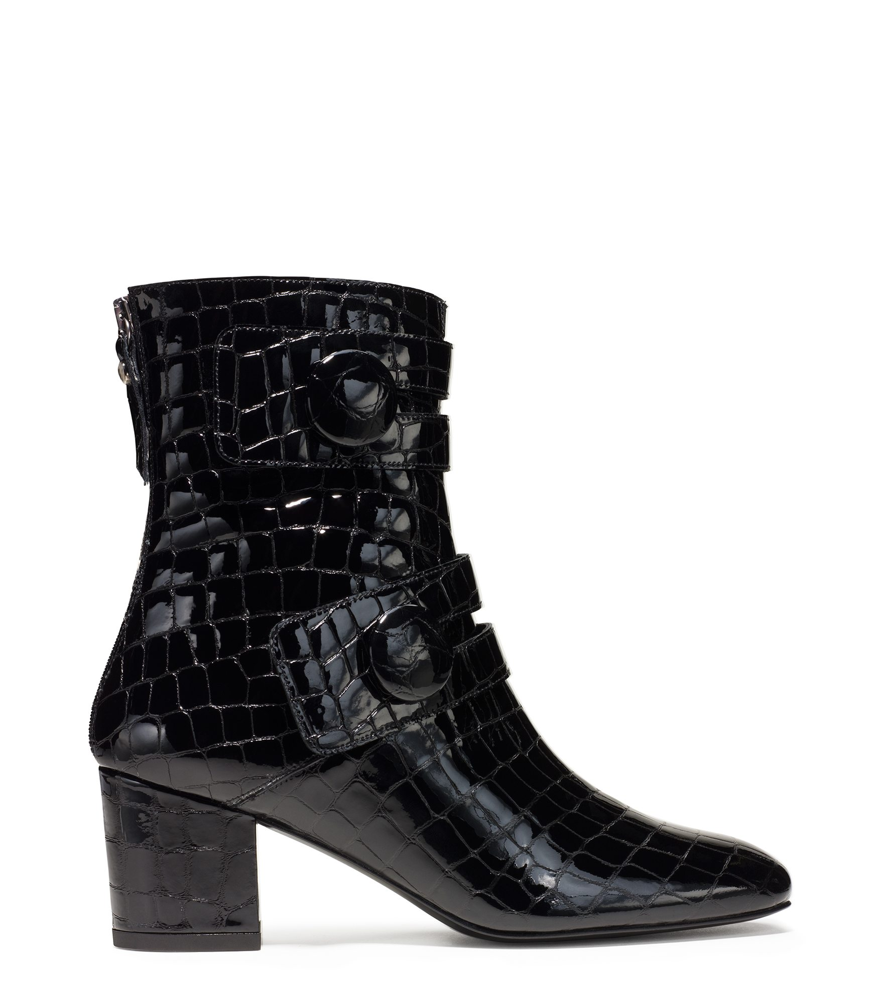 60s inspired Discoboots booties, with croc-stamped leather
