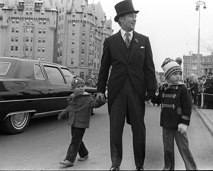 1977, Prime Miniser Pierre Trudeau, as a single father , brought his kids to the annual Remembrance Day ceremony in Ottawa...shown with Sacha(L) and Justin(R) Credit:Photo by Rod MacIvor(..no reprints, no sales.)WEB PAGE ONLY OTTAWA MAGAZINE.