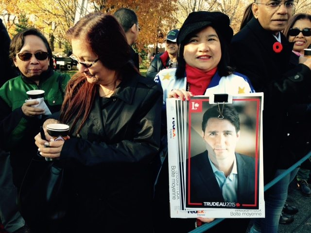 Nieves Mangante, from Toronto, had been a volunteer for the Trudeau campaign and was eager to be at Rideau Hall to see her candidate become prime minister. Photo by Jana Chytilova.