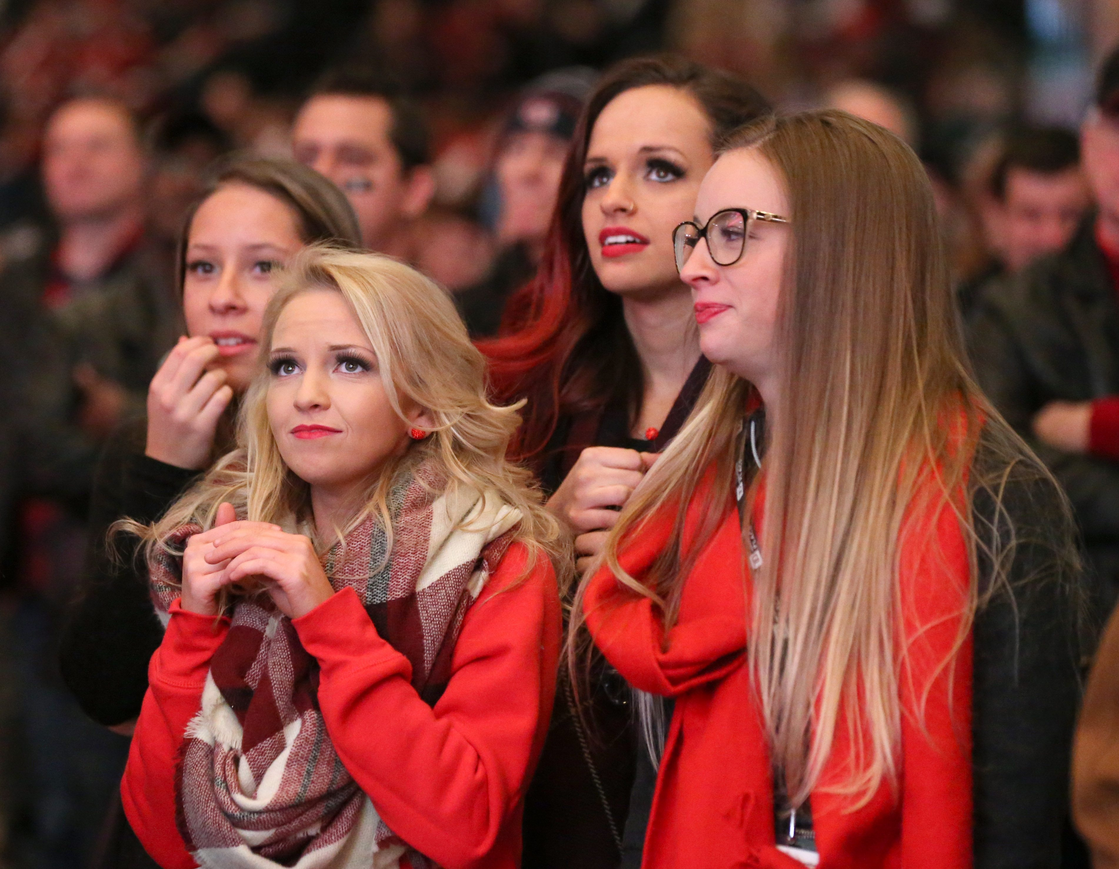 From left to right: Ashley Gentille, Emma Caldwell, Ruslana Malytska and Alex Robitaille watch as Edmonton takes the lead late in the 4th quarter. Photo by Jana Chytilova, OTTAWA magazine.