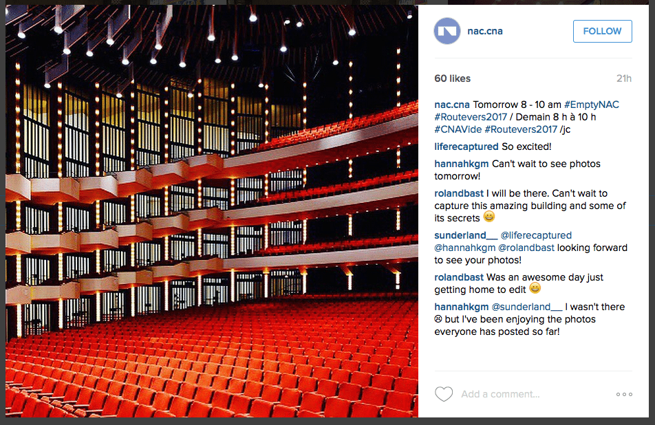 Ottawa joins New York, London, and Paris in an exclusive Instagram event celebrating the NAC
