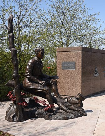 This statue of John McCrae was unveiled on May 3, 2015 to commemorate the 100th anniversary of the writing of In Flanders Fields. Photo: Veterans Affairs Canada.