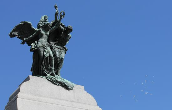 The figures at the top of the War Memorial symbolize peace and freedom. Photo: Veterans Affairs Canada.