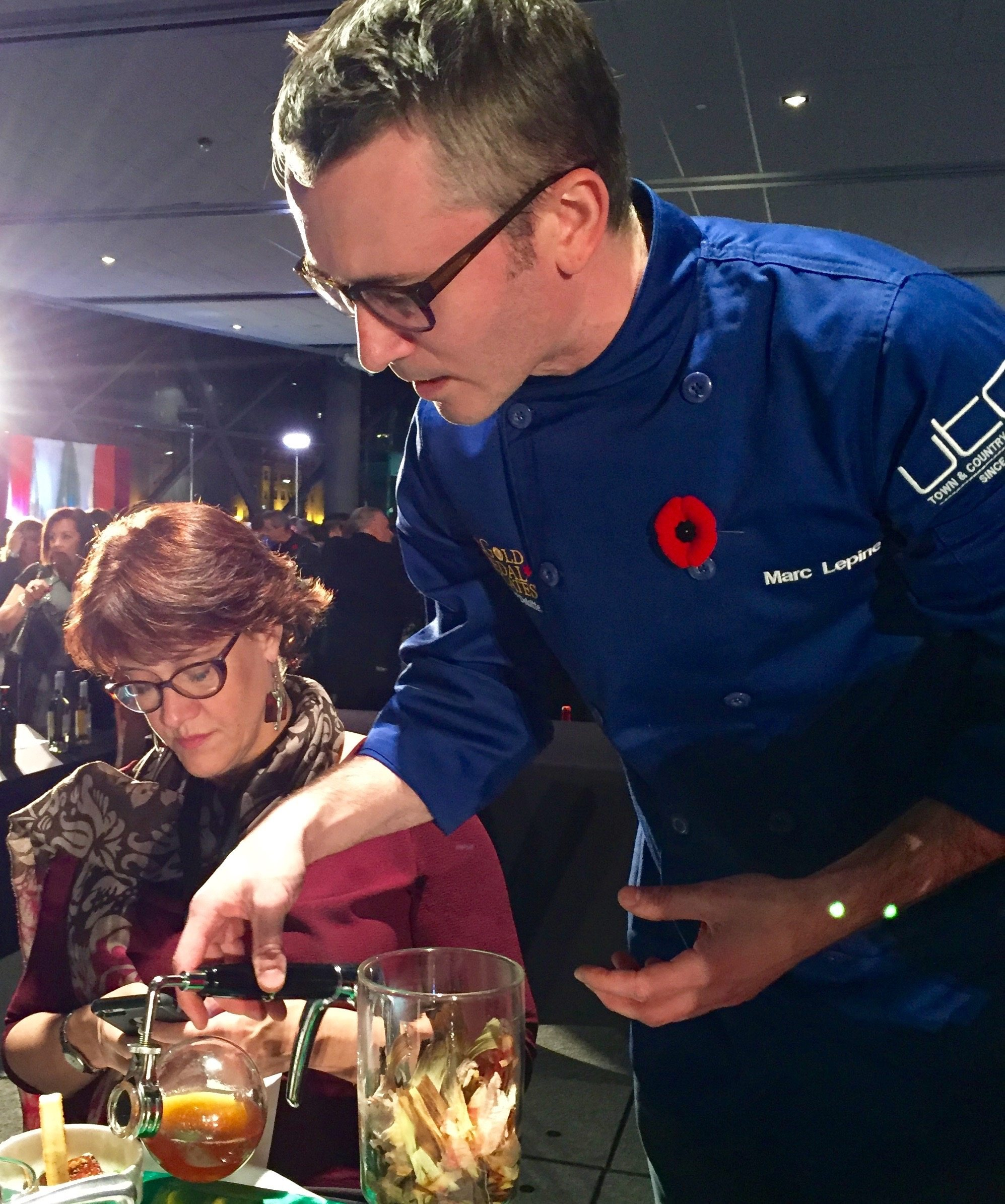 Chef Marc Lepine at the judges' table for the 2015 Gold Medal Plates competition. Photo by Anne DesBrisay, Ottawa Magazine.
