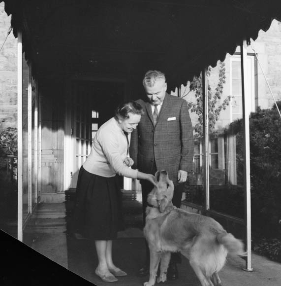 John and Olive Diefenbaker outside 24 Sussex. Credit: Malak/Library and Archives Canada/PA-151038.