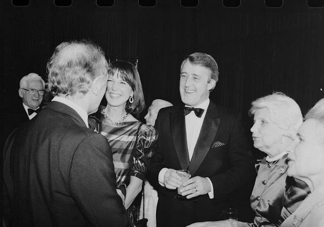Mila and Brian Mulroney talking with Pierre Trudeau at the swearing in of Jeanne Sauvé as Governor-General. Credit: Robert Cooper/Library and Archives Canada/PA-152416.