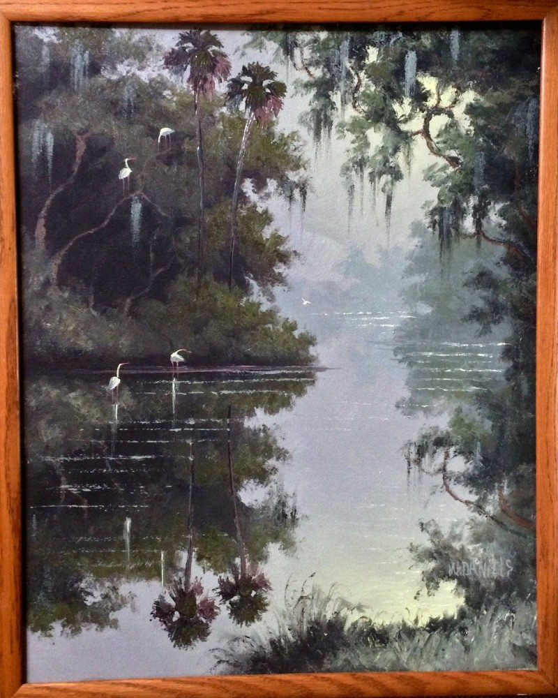 Willie Daniels (1950), Still Waters Oil, on canvas 41x51cm (image), 44x54cm (framed) 1995 signed JPG