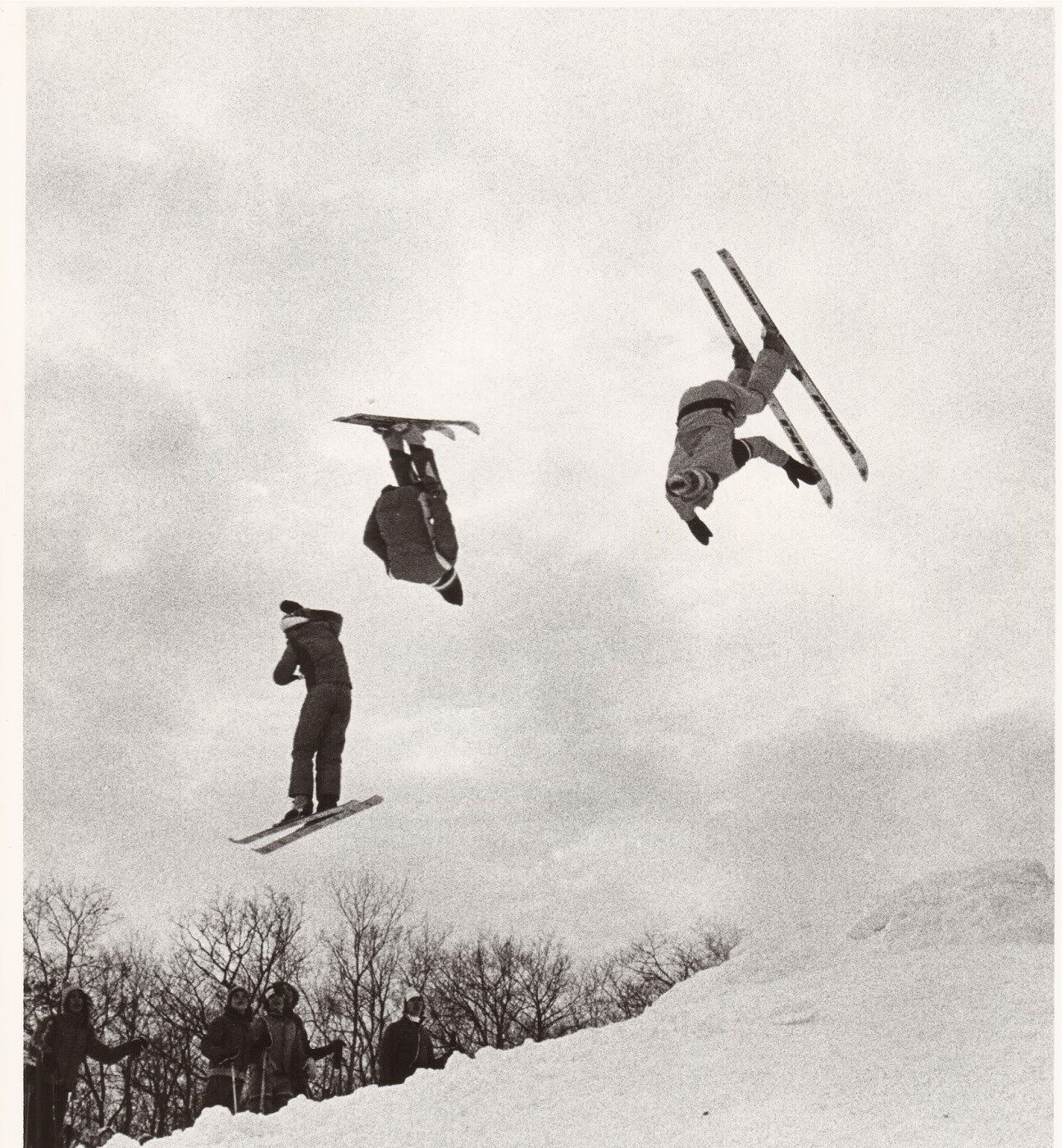 Teenagers Steve Hambling (left), Mike Nemesvary, and Mike Abson (right) getting some air at Mont Cascades in 1976. Photo: Laszlo Nemesvary