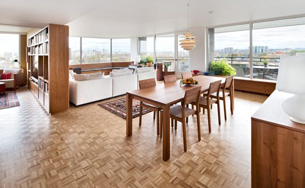 "Respecting the building's design meant keeping the classic oak parquet floor. The ""dated"" flooring is coming back on trend"