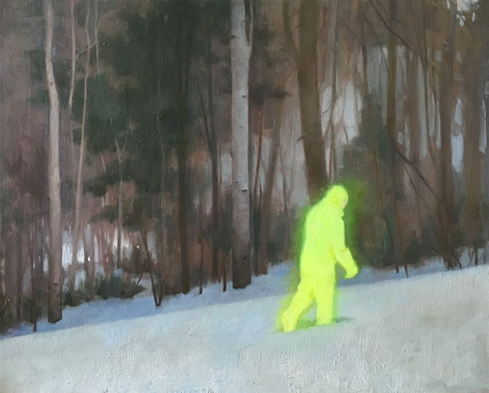 Snow Walker, Kristy Gordon, oil, 16 x 20""