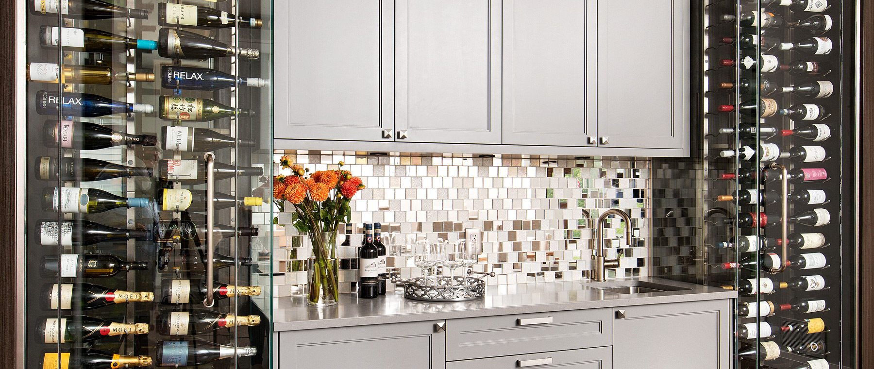 A Westboro wine cellar — Sophistication in shades of silver & grey