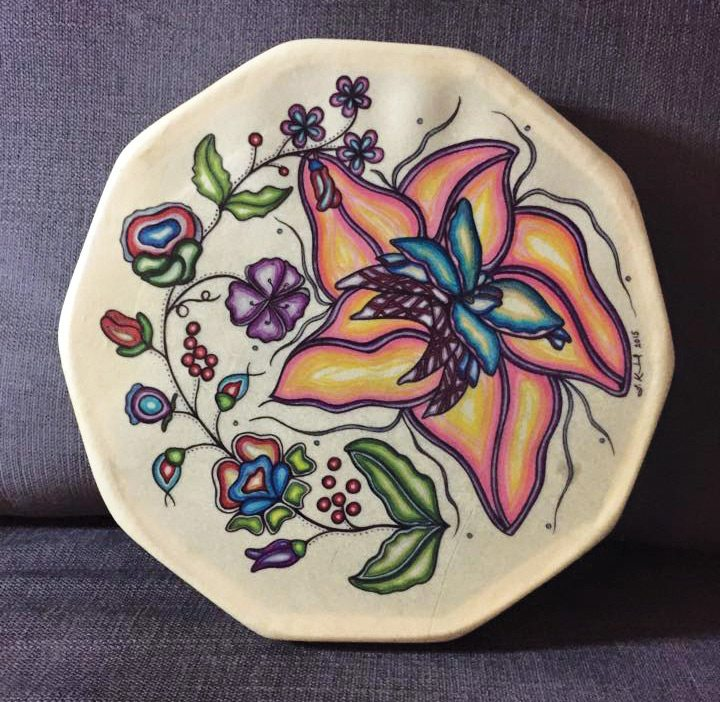 Art therapy A colourful drum skin painted by Koebel, who says she is naturally drawn to bright colours