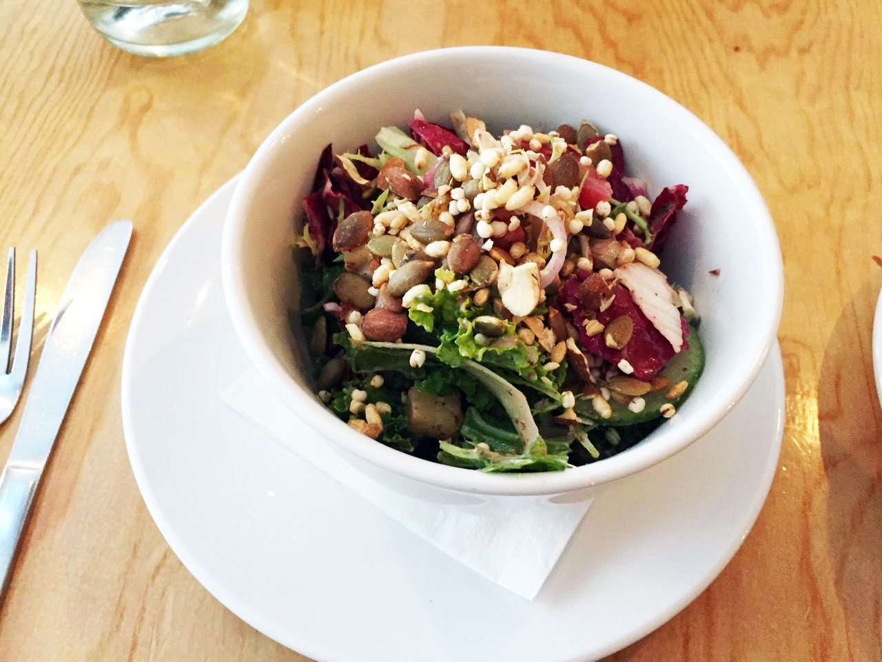 There is sweet crunch and crack and unexpected acidic pleasure in the salad, punched with a preserved lemon vinaigrette