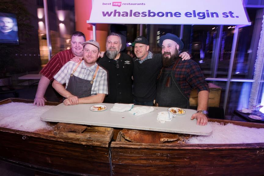 "Steve Mitton, centre, joins Chef Michael Radford (second from left) and the rest of the Whalesbone team. Mitton will be involved with catering, lunches, and almost everything else in a role he's calling ""chef tournant"""