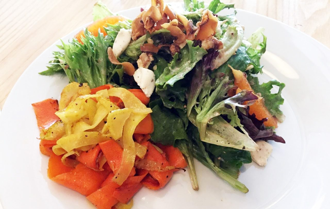 Erling's salad: mixed greens ripe with flavour, loaded up with things pickled, fried, candied, smoked, and roasted