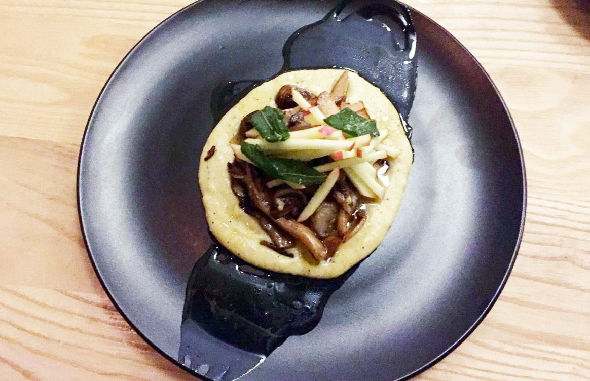 Erling's wintery mix of sautéed mushrooms, piled on a smooth bed of polenta