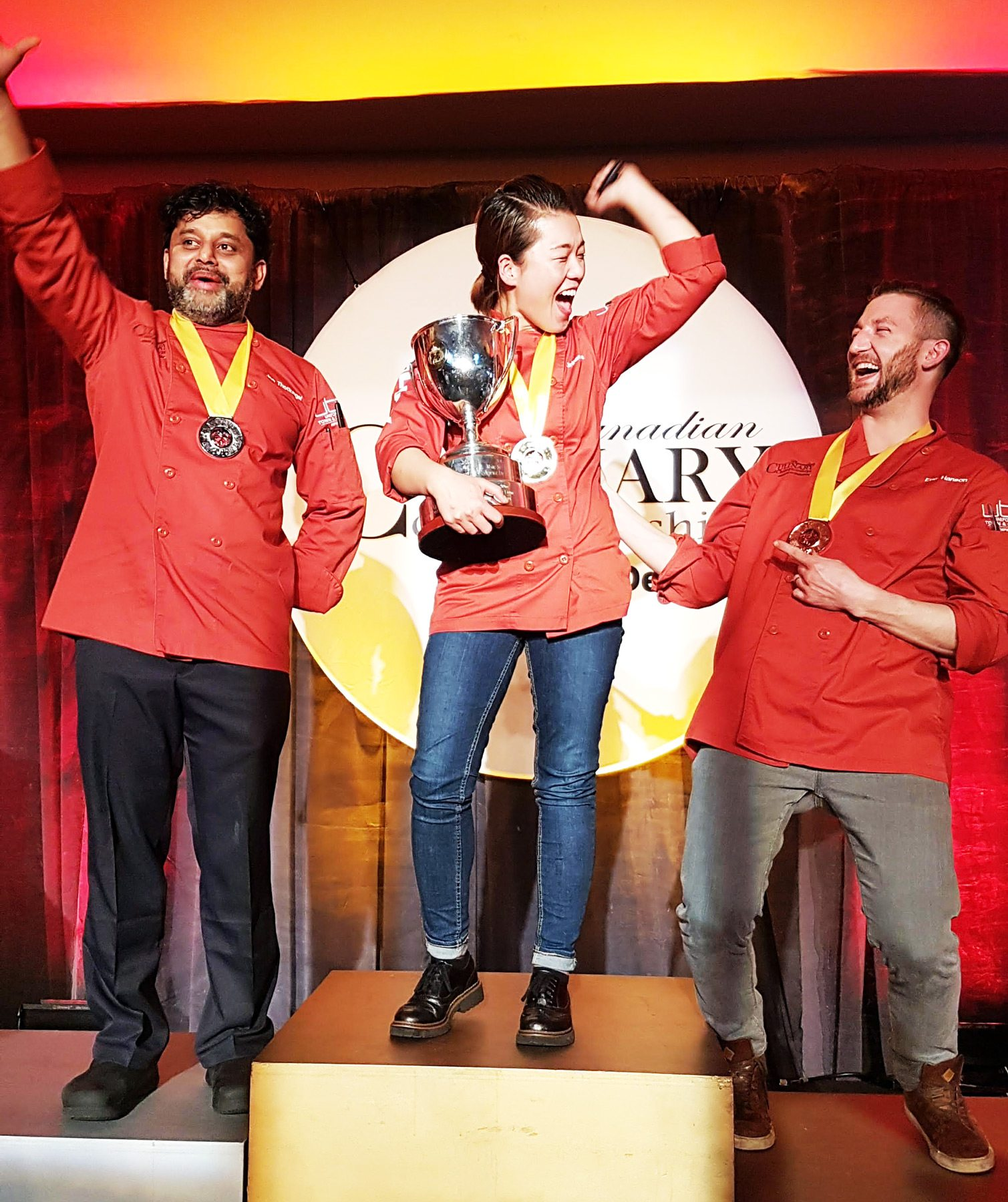 Calgary chef Jinhee Lee of Foreign Concept (centre) won the event. She is the first woman to take the top prize since 2007. The silver went to Ottawa's own Joe Thottungal from Coconut Lagoon (left); the bronze went to Eric Hanson of Prairie Noodle Shop in Edmonton (right)