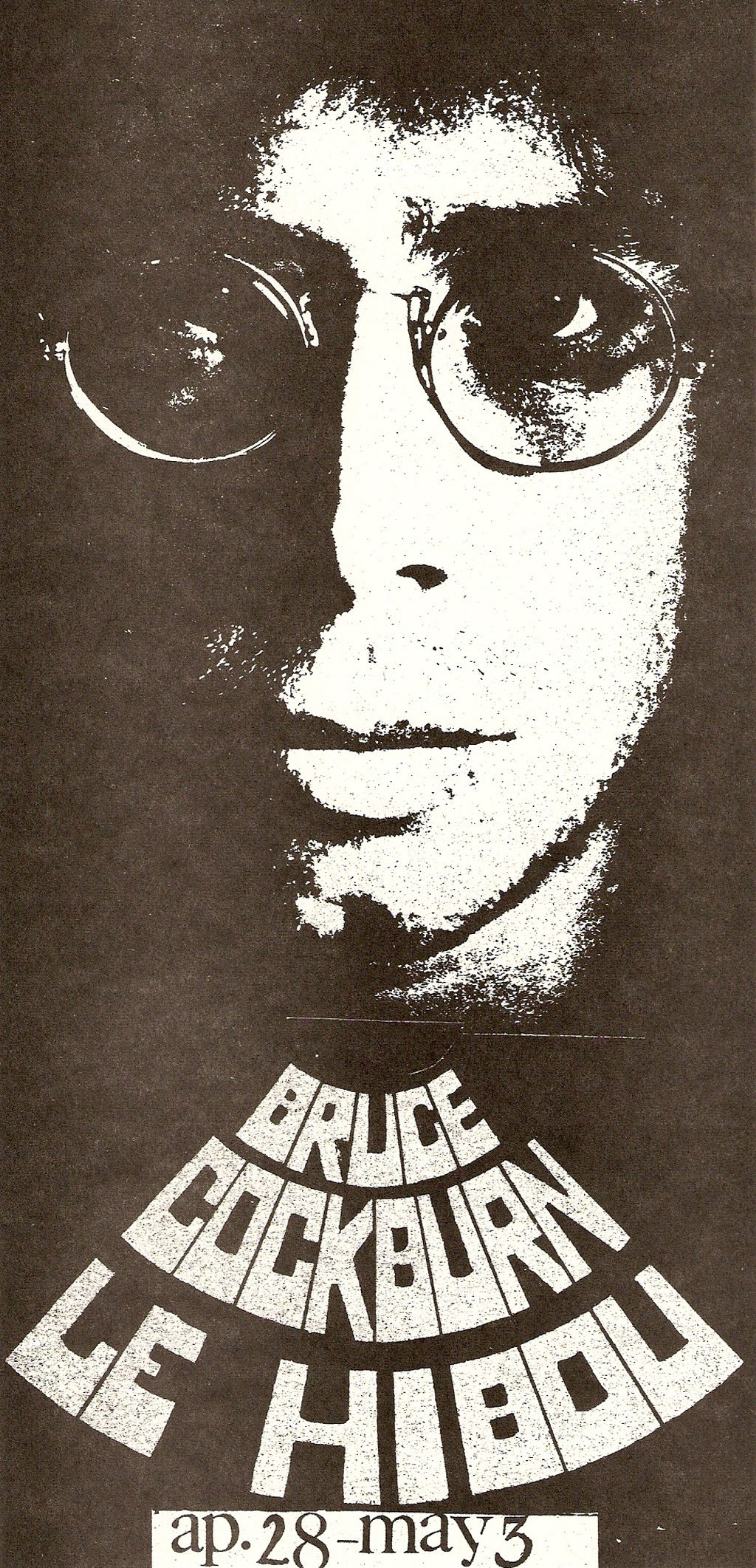 A poster from Bruce Cockburn's concert at Le Hibou