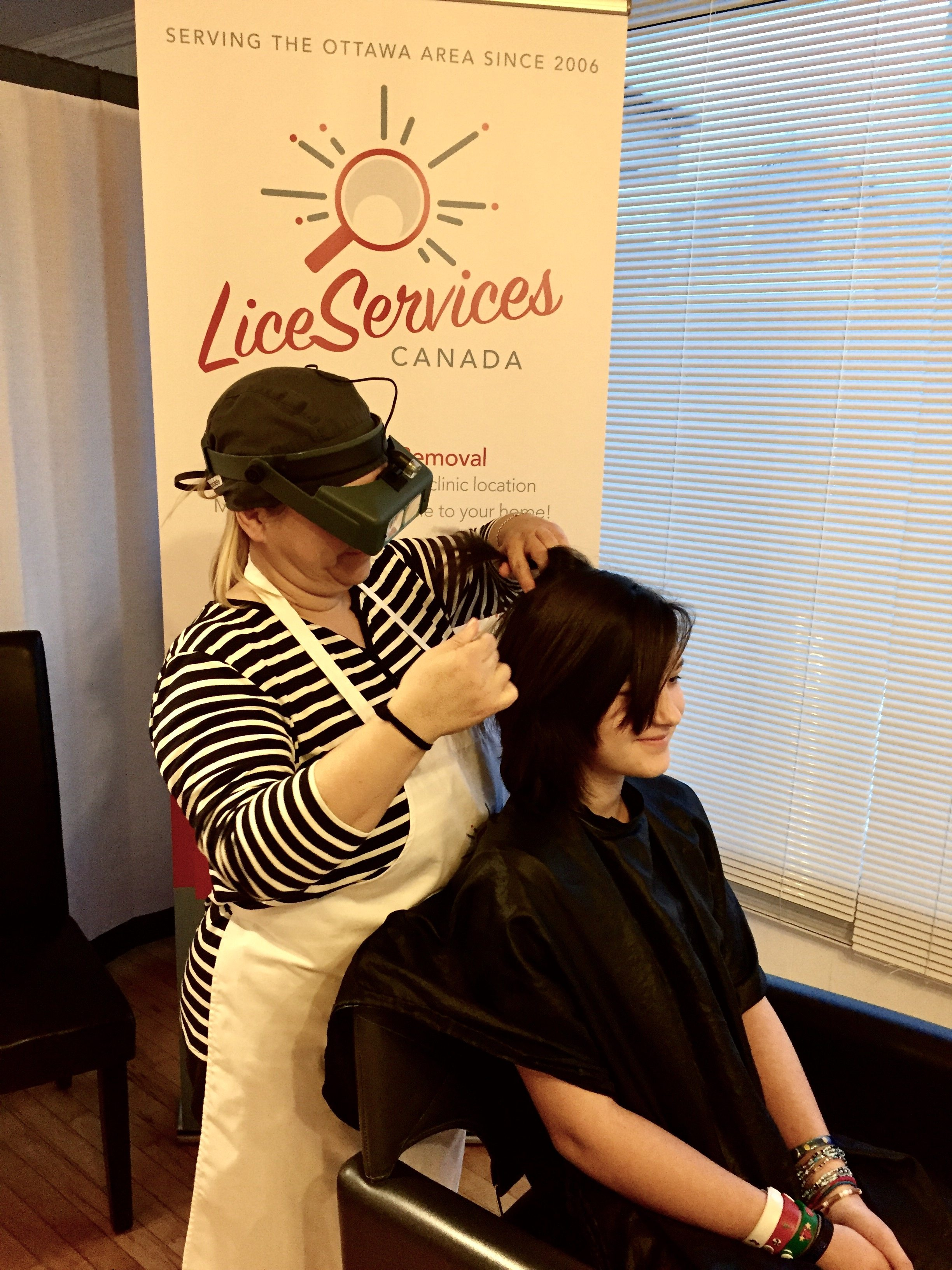 Life Services Canada's technician, Patti, treating her daughter, Hannah. Courtesy of Life Services Canada
