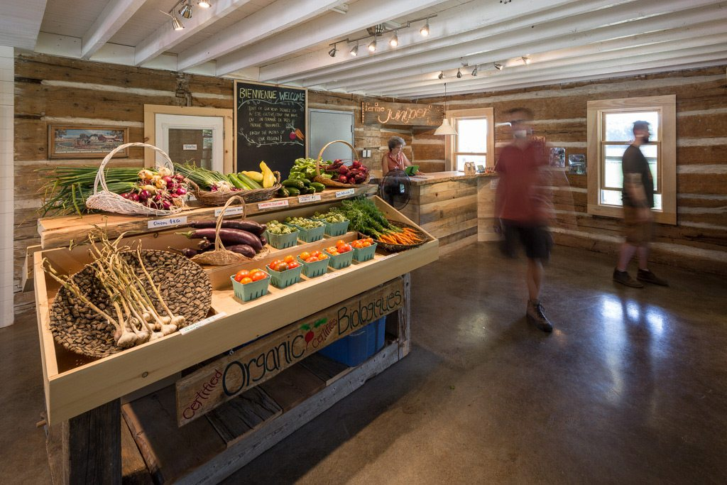 Filled with fresh vegetables, the farm's store, which is separate from the main house, attracts buyers from across the region. Dozens of local chefs also liaise with Juniper Farm to get regular produce deliveries throughout the growing season. Photography by Justin Van Leeuwen