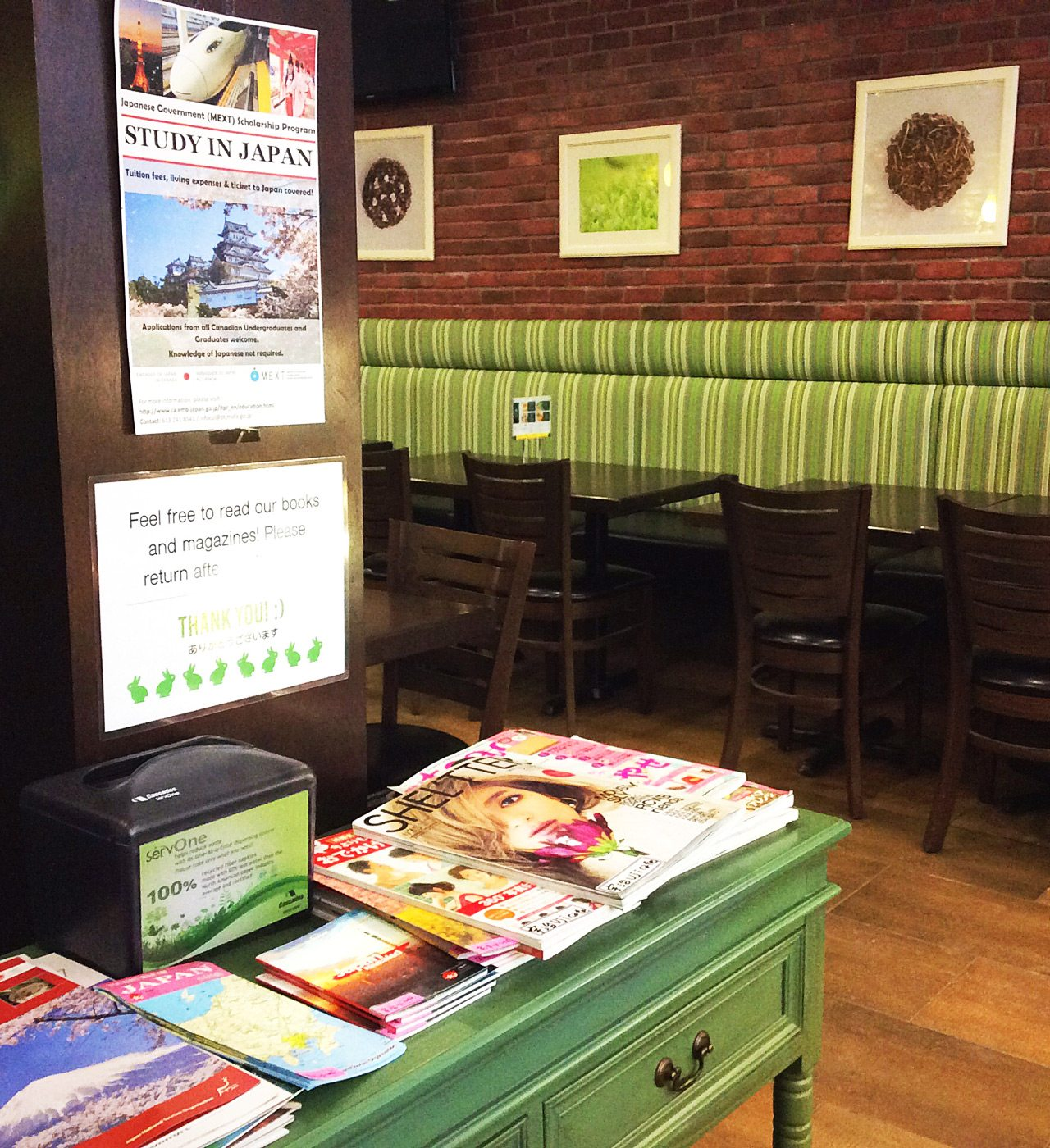 At the front of the café, Japanese magazines and tourist info tempt expats and Japan buffs