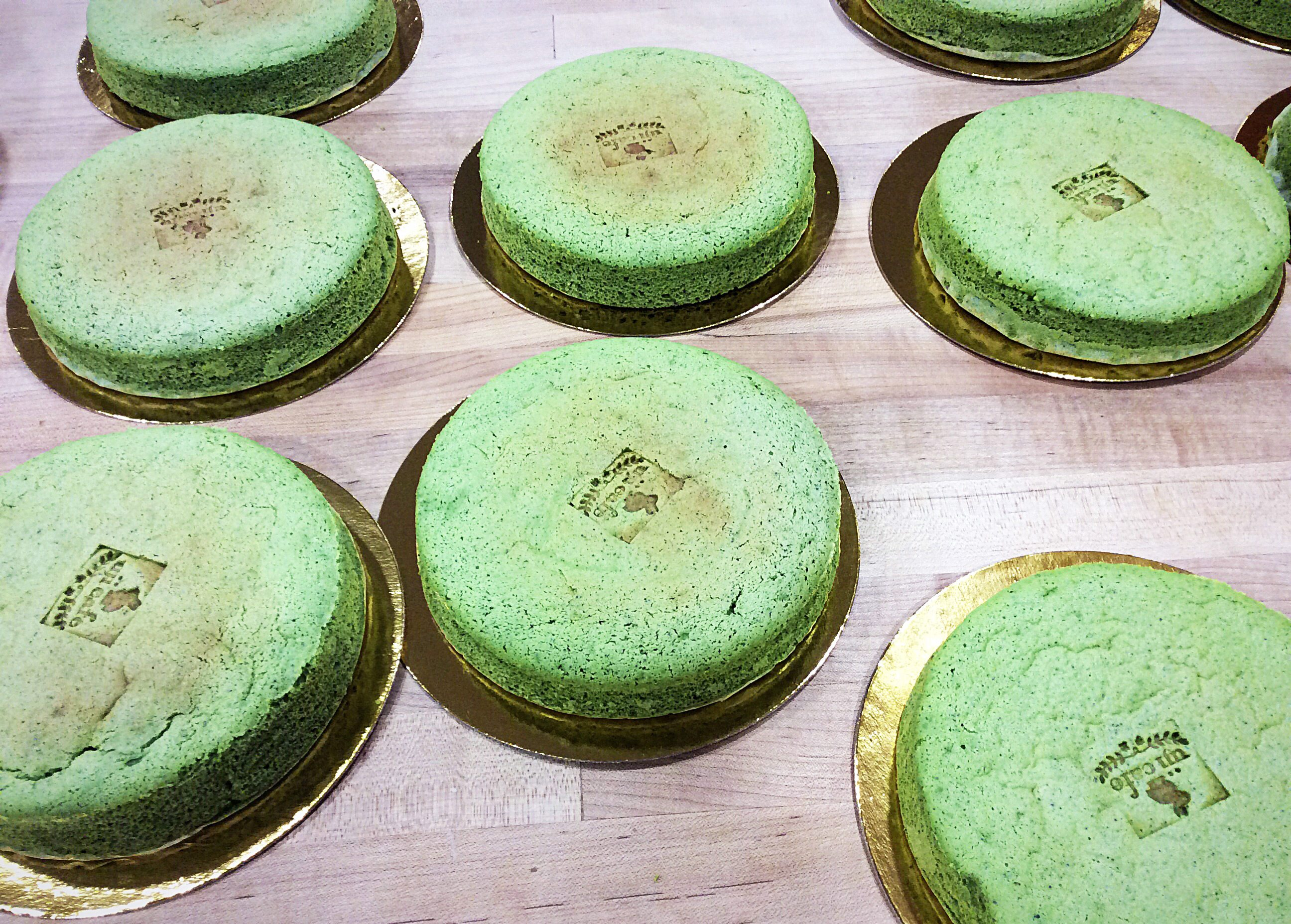 Matcha cheesecakes cool at the back of the cafe. A tiny hot brand is used to put the Uji Café logo on each one