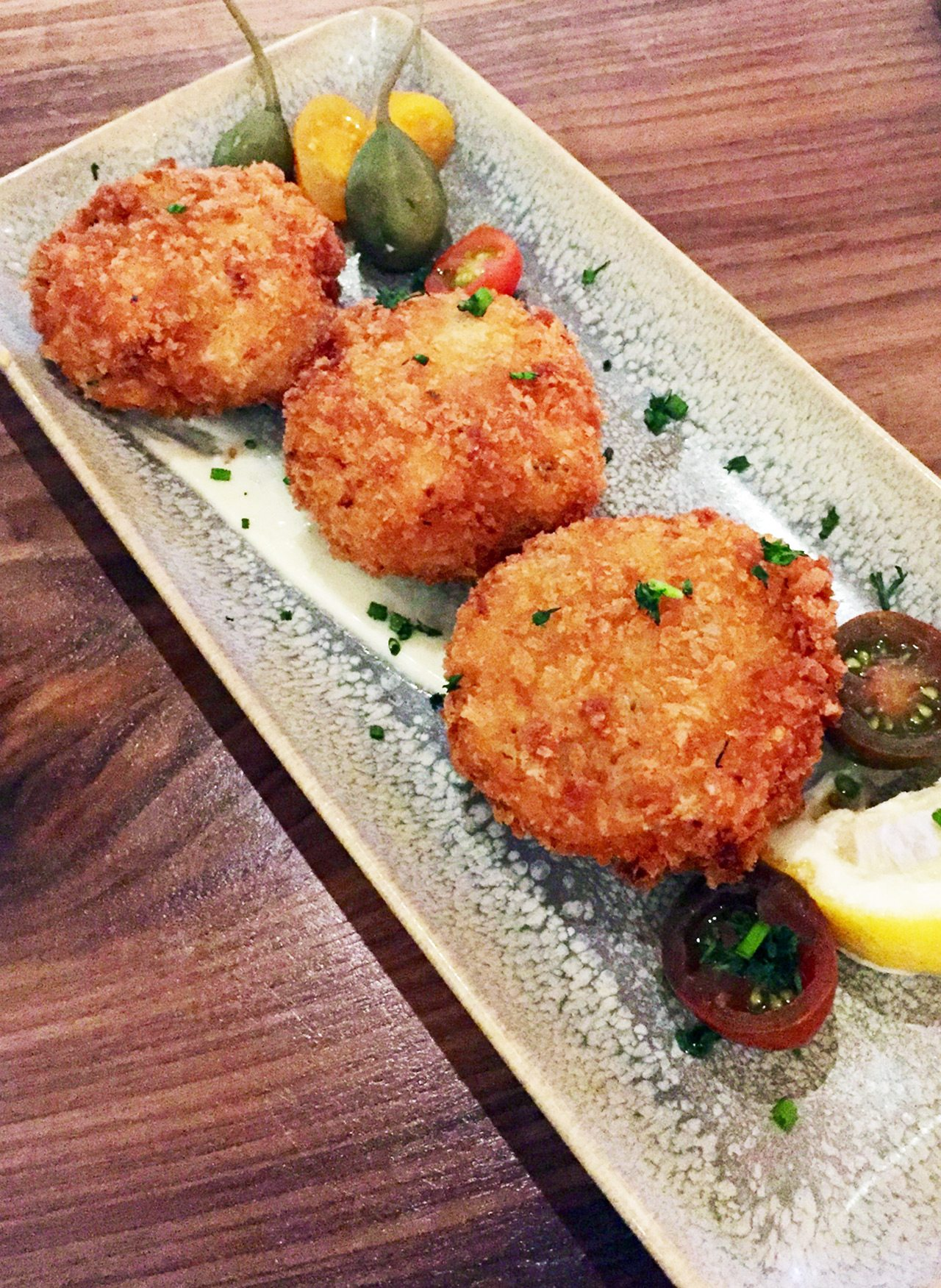 OCCO's panko-crusted salt cod cakes