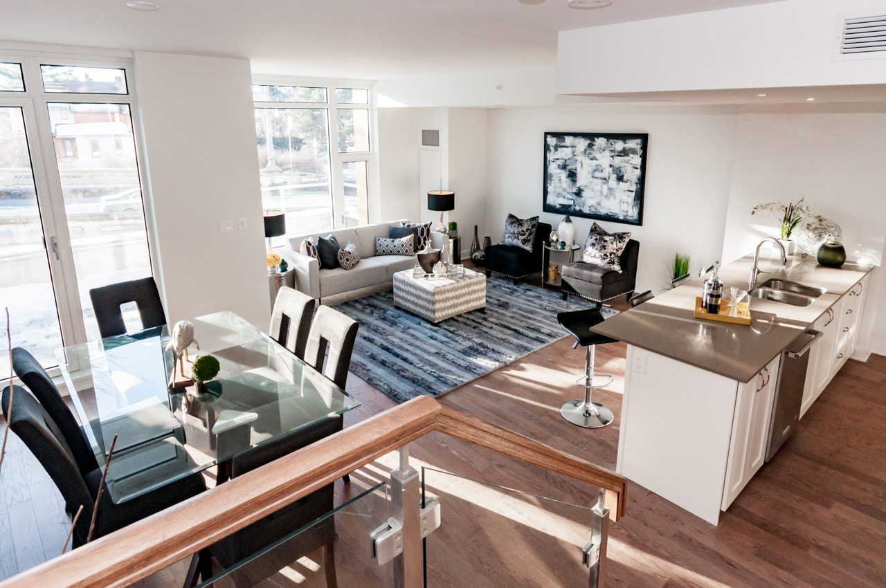 A view of the two-storey, designer-decorated suite inside Minto Lansdowne