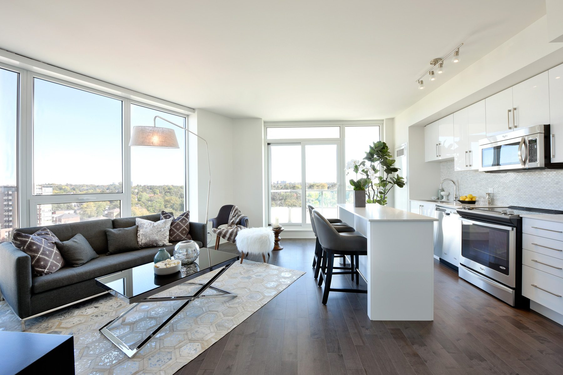 Minto UpperWest's Broadview suite, a one bedroom suite with a view over the tree-lined streets of Westboro