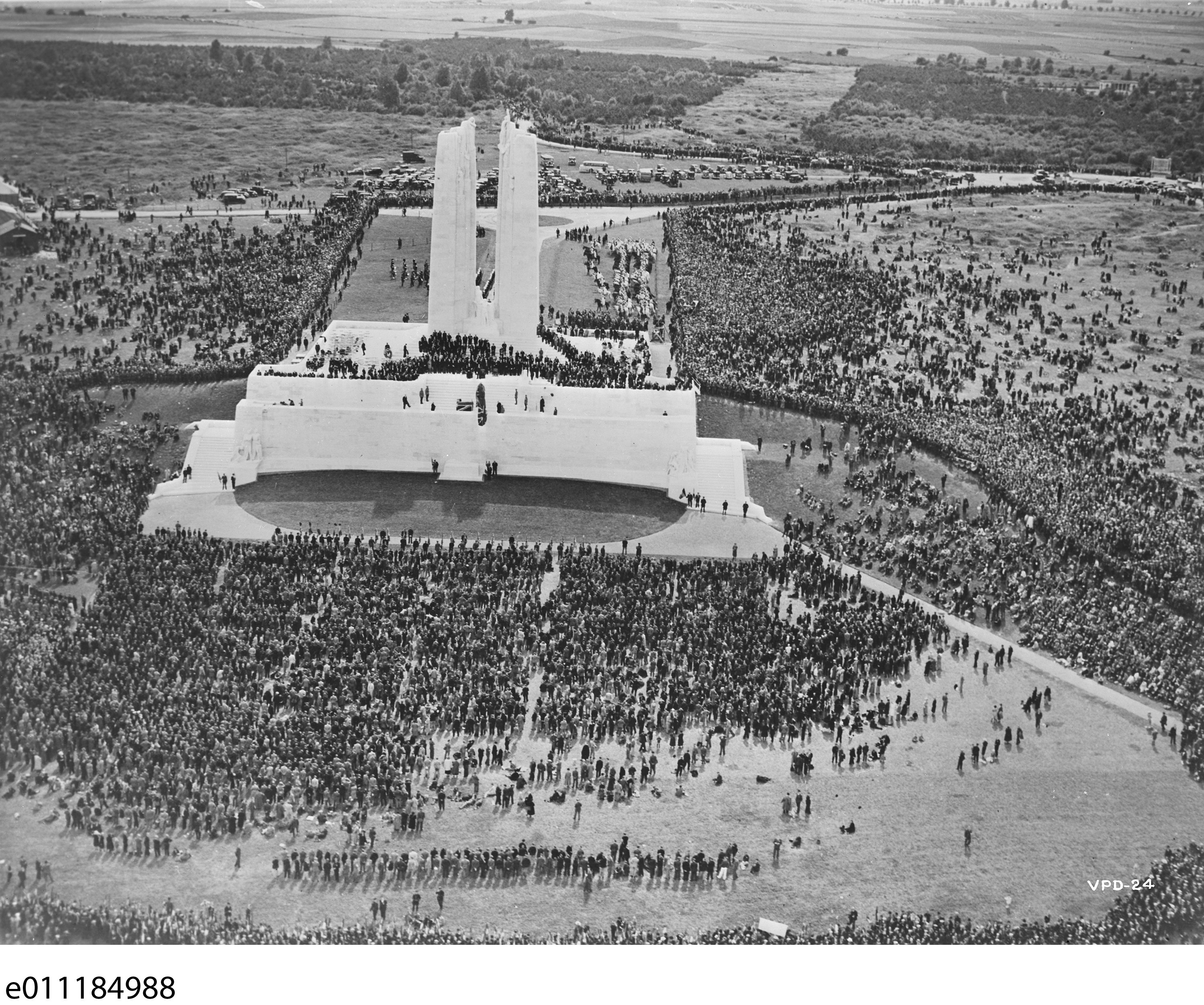 His Majesty King Edward III unveils the Canadian National Memorial at Vimy Ridge. Image courtesy Library and Archives Canada